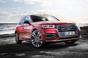 Fotos Audi Rot Metallisch Crossover Q5, 2017 automobil