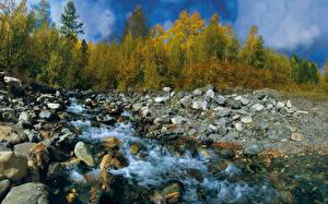 Images Autumn Stones Streams Nature