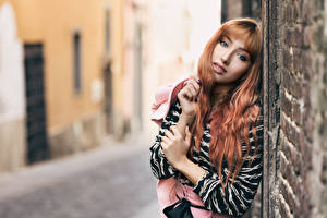 Bilder Bokeh Mauer Hand Haar Starren Rotschopf junge Frauen