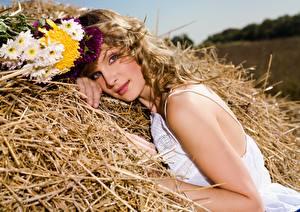 Wallpaper Bouquets Dark Blonde Staring Straw Beautiful Hay Girls
