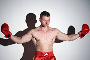 Bakgrunnsbilder Boksing En mann Boxer Posere Hender Ser Hansker