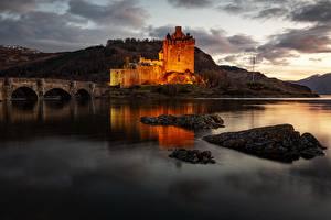 Hintergrundbilder Brücke Burg Abend Schottland Bucht Eilean Donan Castle, Kyle of Lochalsh