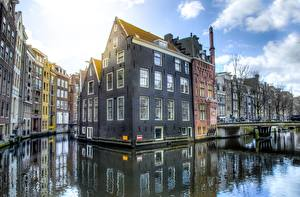 Picture Bridges Building Netherlands Amsterdam Canal Cities