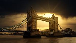 Wallpapers Bridge Rivers Sunrises and sunsets England London Thames Cities