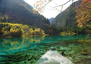 Pictures China Park Mountain Forest Autumn Lake Jiuzhaigou park Sichuan Nature