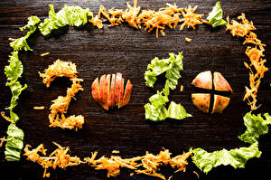 Fotos Neujahr Äpfel Gemüse Bretter 2020 Geschnitten Lebensmittel