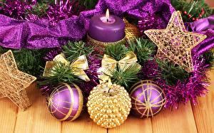Hintergrundbilder Neujahr Kerzen Kugeln Kleine Sterne