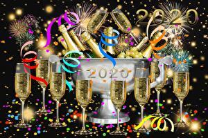Hintergrundbilder Neujahr Schaumwein Weinglas Band Konfetti 2020