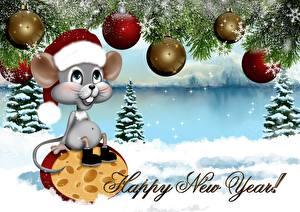 Bilder Neujahr Käse Mäuse Vektorgrafik Kugeln Mütze Sitzend