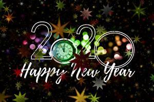 桌面壁纸,,新年,時鐘,2020,英語,星裝飾,