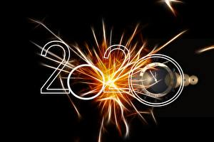 Wallpaper New year Clock Black background 2020