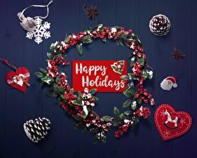 Fotos Neujahr Englische Schneeflocken Herz Zapfen Kranz
