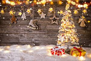 Image New year Fairy lights Little stars Ice skate New Year tree Gifts
