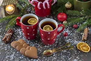 Images Christmas Tea Cookies Lemons Mug Heart Spoon Food