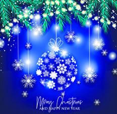 Hintergrundbilder Neujahr Vektorgrafik Englisches Kugeln Schneeflocken Ast Lichterkette