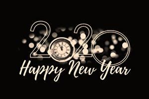 Bilder Zifferblatt Neujahr Schwarzer Hintergrund Text Englisches 2020