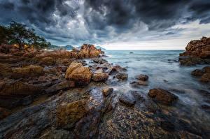 Hintergrundbilder Küste Thailand Meer Felsen