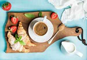 Pictures Coffee Croissant Strawberry Breakfast Cutting board Cup Saucer Sugar Cream Food