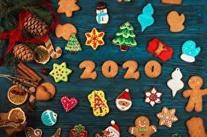 Hintergrundbilder Kekse Neujahr 2020 Zapfen Schneeflocken Christbaum
