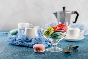 Bilder Kekse Tisch Tasse Schüssel Macaron Lebensmittel