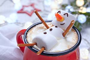 Photo Creative Christmas Cappuccino Marshmallow Mug Snowmen Food