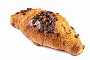 Bilder Croissant Schokolade Nahaufnahme Weißer hintergrund das Essen