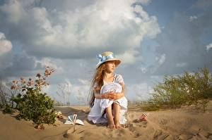 Pictures Little girls Sit Hat Sand Frock Dmitry Usanin Children