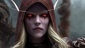 Images Elves World of WarCraft Face Sylvanas Windrunner Staring Battle of Azeroth