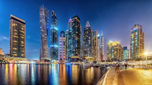 Wallpapers Emirates UAE Dubai Skyscrapers Waterfront Cities