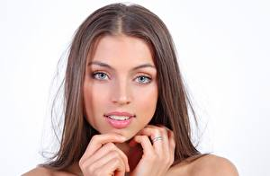 Photo FERGIE A Valentina Kolesnikova White background Face Brown haired Glance Hands Ring Beautiful young woman