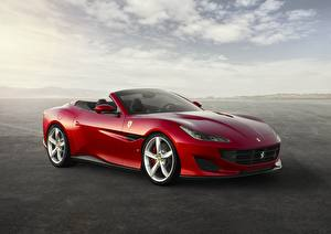 Hintergrundbilder Ferrari Rot Metallisch Cabrio Portofino Gran Turismo 2017-19