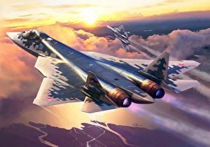 Hintergrundbilder Flugzeuge Jagdflugzeug Gezeichnet Russisches Su-57 Luftfahrt