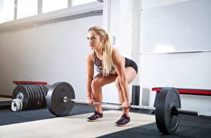 Hintergrundbilder Fitness Hantelstange Körperliche Aktivität Blondine Mädchens