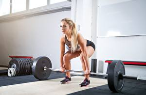 Hintergrundbilder Fitness Hantelstange Körperliche Aktivität Blondine Sport Mädchens