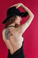 Bilder Füchse Farbigen hintergrund Model Posiert Hand Tätowierung Der Hut Braunhaarige Rücken Indianer junge frau