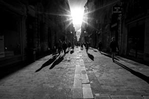 Image France People Black and white Street Rays of light Bordeaux Cities