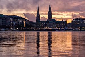 Hintergrundbilder Hamburg Deutschland Fluss Abend Türme Alster Städte