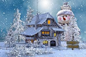 Bilder Gebäude Neujahr Schneemänner Bäume Schnee Text Englischer