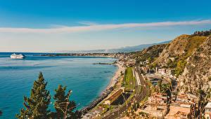Hintergrundbilder Italien Autonome Region Sizilien Haus Bootssteg Küste Taormina Städte