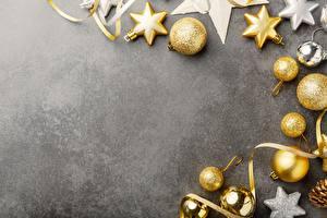 Hintergrundbilder Schmuck Neujahr Kugeln Grauer Hintergrund Vorlage Grußkarte