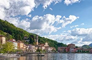 Fotos & Bilder See Schiffsanleger Haus Italien Himmel Porto Ceresio, lake Lugano, province of Varese Städte