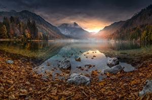 Fotos See Berg Herbst Österreich Landschaftsfotografie Blatt Nebel Langbathsee