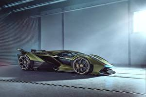 Fotos Lamborghini Seitlich Grün Vision Gran Turismo 2019 Lambo V12 Autos