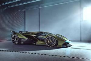 Image Lamborghini Side Green Vision Gran Turismo 2019 Lambo V12 Cars