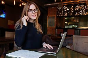 Pictures Laptops Eyeglasses Hands Sitting Glance female
