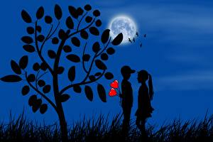 Picture Love Heart 2 Moon Trees Silhouette