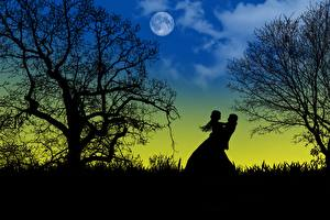 Fotos Liebe Nacht Mond Bäume Silhouette 2 Auf ein datum date