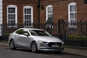 Hintergrundbilder Mazda Metallisch Silber Farbe 2019 Mazda3 Skyactiv-X Sport Sedan