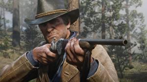 Bilder Mann Flinte Red Dead Redemption 2 Der Hut Hand Arthur Morgan Spiele 3D-Grafik