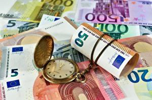 Bakgrunnsbilder Penger Sedler Euro Klokke Lommeur
